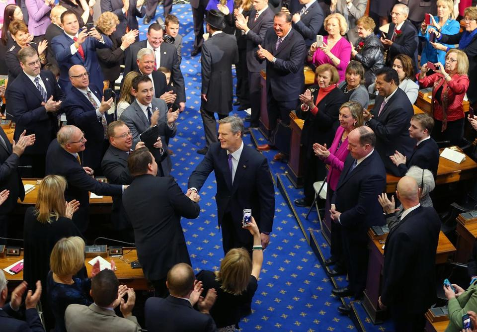 Boston-01/08/15- Charlie Baker was sworn in as the Governor of Massachusetts at a ceremony inside the House Chamber at the State House. He walks down the house aisle. Boston Globe staff photo by John Tlumacki(metro)